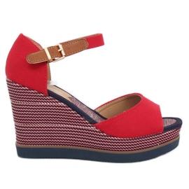Sandálias em saltos de cunha vermelho 9079 vermelho