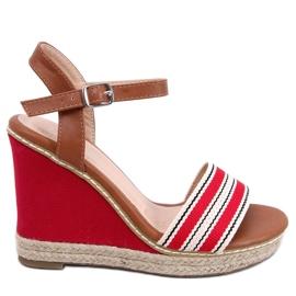 Sandálias em saltos de cunha vermelho 9068 Vermelho
