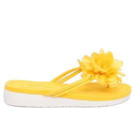 Flip-flops com flor amarelo CK103 Amarelo