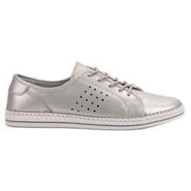 Kylie Sapatos de couro com cordões cinza