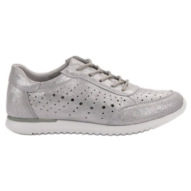 Kylie Sapatos De Couro De Prata cinza