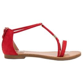 Cm Paris vermelho Sandálias de camurça plana