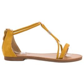 Cm Paris amarelo Sandálias de camurça plana