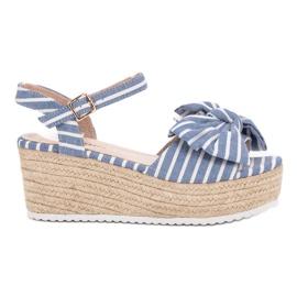 Seastar azul Sandálias de cunha com arco