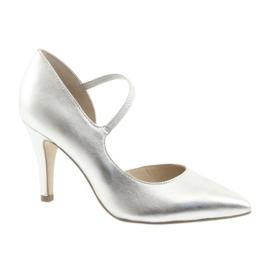 Sapatos com alça Caprice 24402 prateado cinza