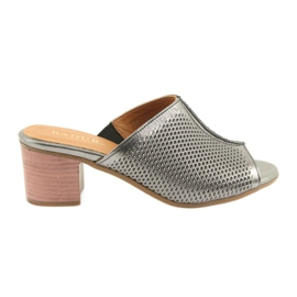 Chinelos de prata femininos Badura 5311 cinza
