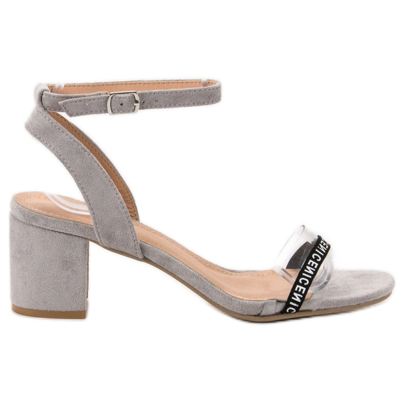 Ideal Shoes Sandálias de camurça elegantes cinza