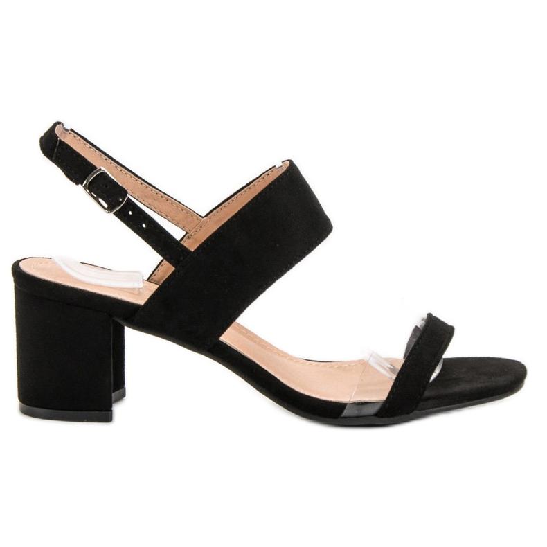 Ideal Shoes preto Sandálias das mulheres na moda