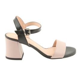 Sandálias das mulheres Edeo 3339 pó / preto