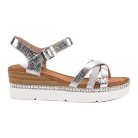 Seastar cinza Sandálias elegantes com zircões