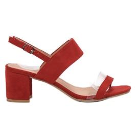 Ideal Shoes vermelho Sandálias das mulheres na moda