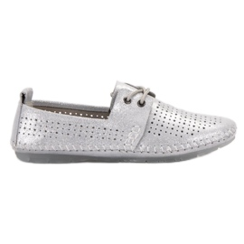 Sapatos de couro VINCEZA cinza