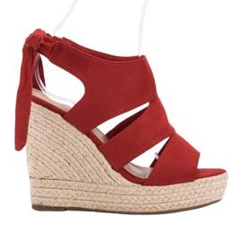 Cm Paris vermelho Sandálias vermelhas na cunha
