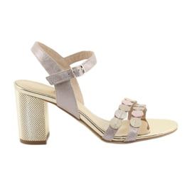 Sapatos femininos rosa prateado Gamis 3658