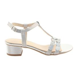 Listras de sandálias femininas Gamis 3661 grey pearl cinza