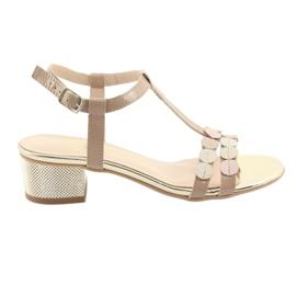 Listras de sandálias femininas Gamis 3661 beige
