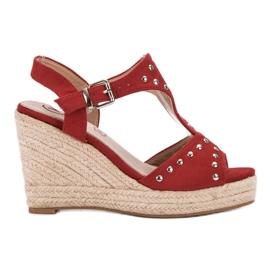 Kylie vermelho Sandálias com jatos