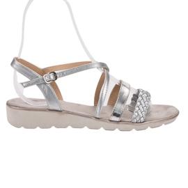Kylie cinza Sandálias De Prata Na Plataforma