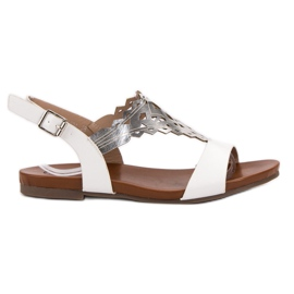 Kylie branco Sandálias planas elegantes