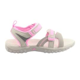Sandálias para menina American Club cinza / rosa