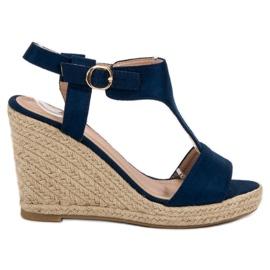 Anesia Paris azul Sandálias de cunha na moda