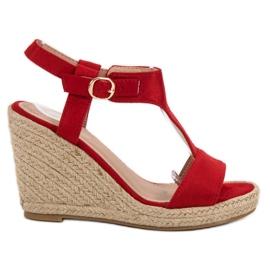 Anesia Paris Sandálias de cunha na moda vermelho