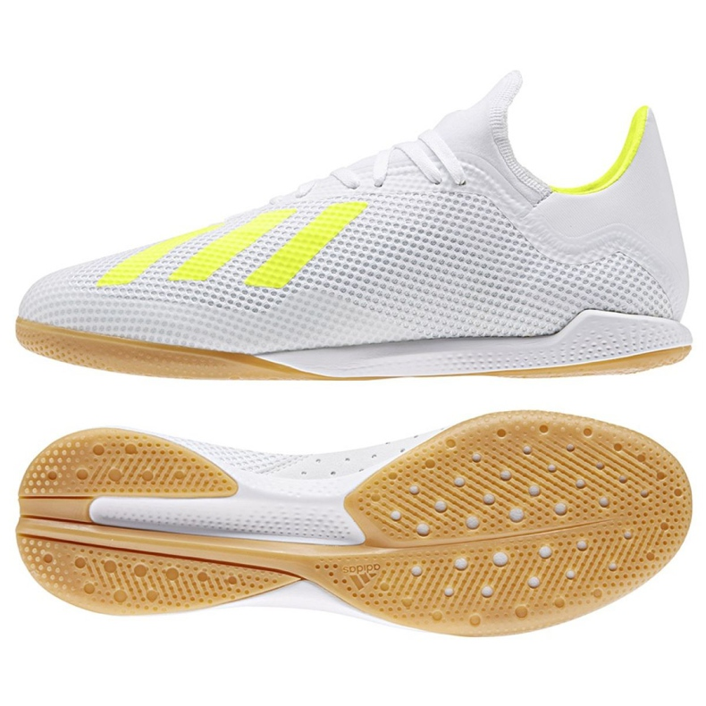 Sapatos de interior adidas X 18.3 Em M BB9393 branco, amarelo branco