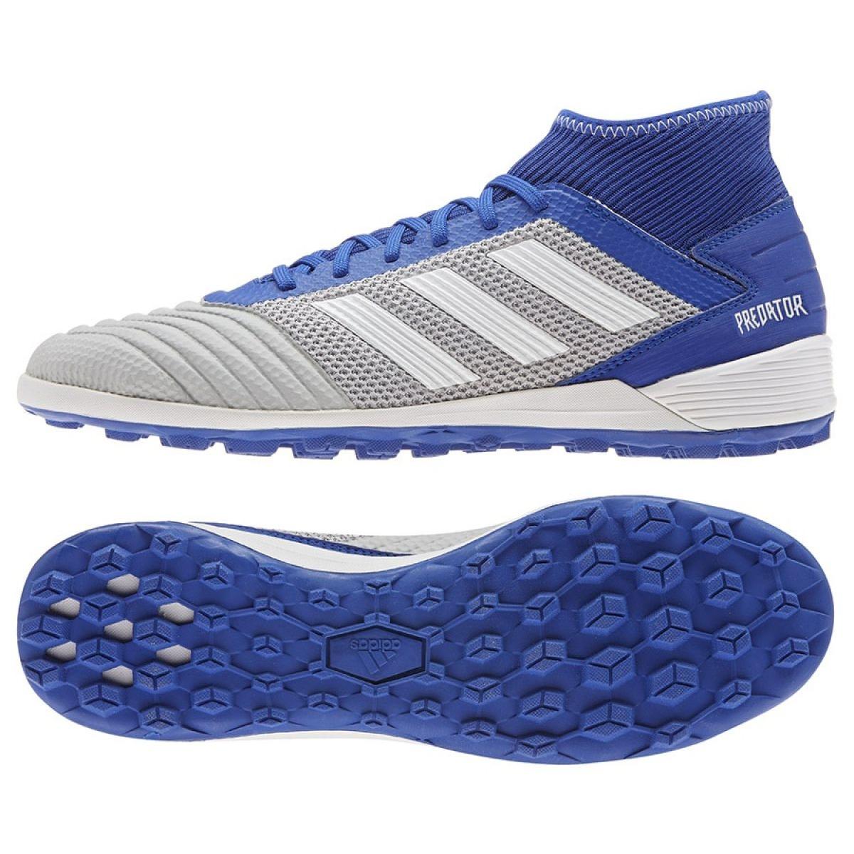 Chuteiras de futebol adidas Predator 19.3 Tf M BC0555 azul, cinza prata azul