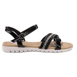 Groto Gogo Sandálias Com Cristais preto