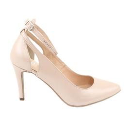 Sapatos femininos Edeo 3212 beige pearl marrom