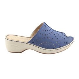 Azul Chinelos femininos koturno Caprice 27351 jeans