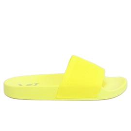 Chinelos com uma tira de tecido de malha amarelo PT-110 Amarelo