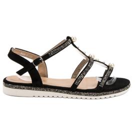 GUAPISSIMA Sandálias Com Pérolas preto