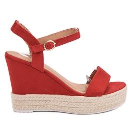 Ideal Shoes vermelho Sandálias Elegantes na Cunha
