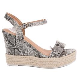 Ideal Shoes cinza Sandálias Elegantes na Cunha