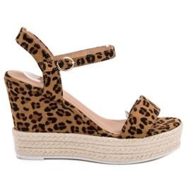 Ideal Shoes marrom Sandálias Elegantes na Cunha