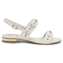 Kylie branco Sandálias planas confortáveis
