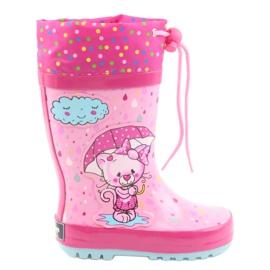American Club Botas de chuva bebê gatinho americano azul rosa