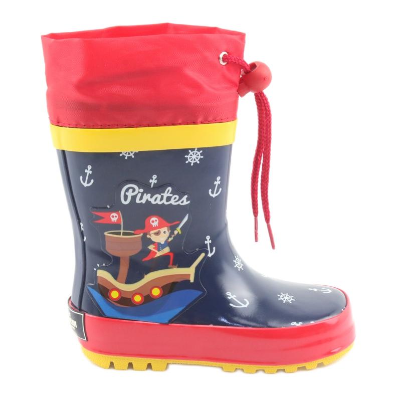 American Club Botas de chuva infantil American Pirat vermelho azul marinho