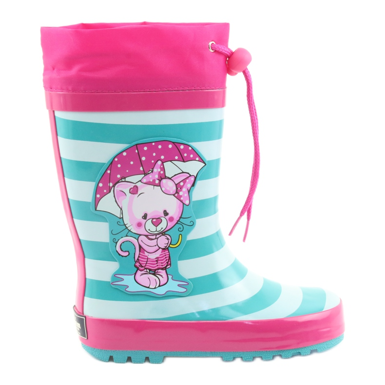 American Club Botas de chuva infantis American Kitten rosa verde