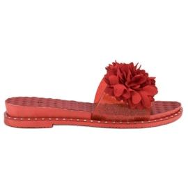 Anesia Paris Chinelos de borracha com flores vermelho