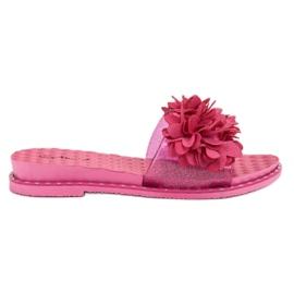 Anesia Paris -de-rosa Chinelos De Borracha Com Flores