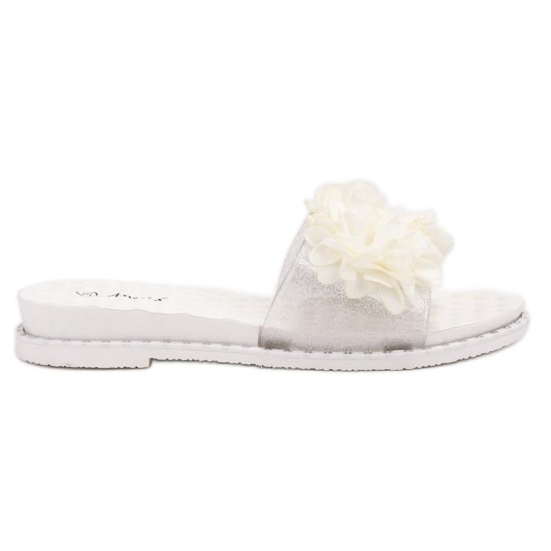 Anesia Paris Chinelos de borracha com flores branco