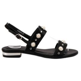 Kylie preto Sandálias Pretas Confortáveis