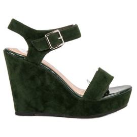 Vinceza verde Sandálias De Camurça