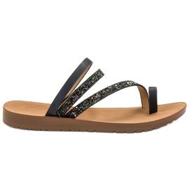 Vinceza preto Flip-flops com brocado