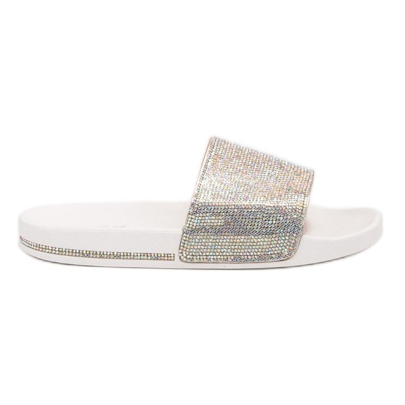 Sweet Shoes Chinelos com cristais branco cinza