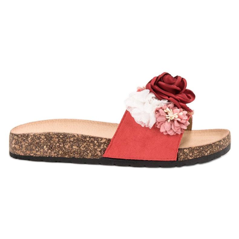 SHELOVET Chinelos de camurça com flores vermelho