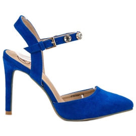Kylie azul Estiletes com um calcanhar exposto