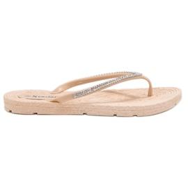 Seastar marrom Flip-flops com zircões